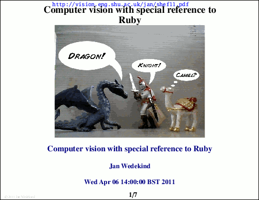Computer vision with special reference to Ruby